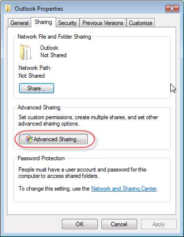 Click on Advanced Sharing