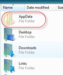 AppData in user folder